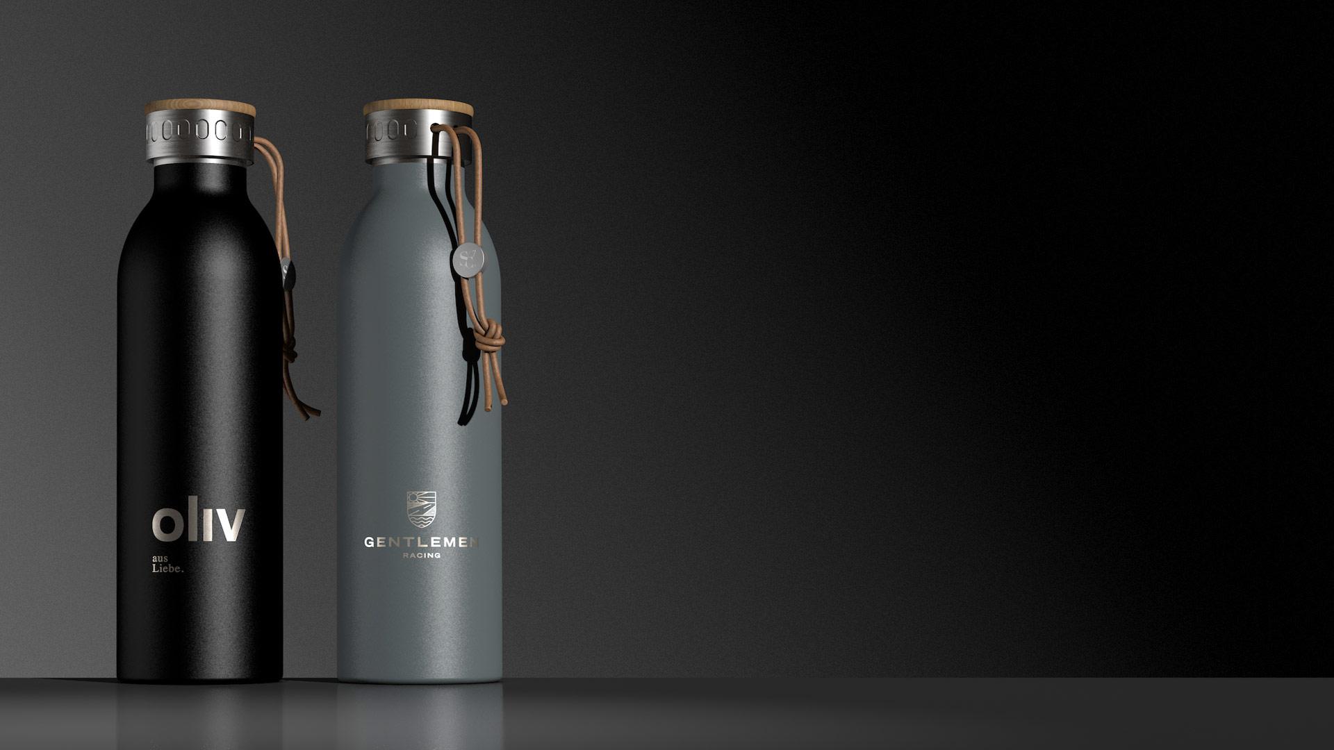 Trinkflasche als Mitarbeitergeschenk Firmenjubiläum - Flasche mit Lederband
